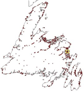 Location of archaeological sites around Newfoundland. Around 18% of the sites lie within 1km of the coast. The yellow square denotes the location of the Beaches site (that is illustrated below).