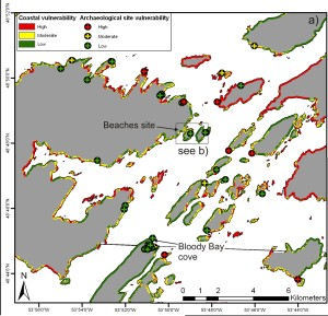 High (red), moderate (yellow) and low (green) vulnerability classification of archaeological sites (crosses) in Bonavista Bay from the pilot assessment by Kieran Westley and colleagues (Westley et al. 2011).