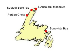 The four study areas in Newfoundland to assess the impact of sea-level rise.